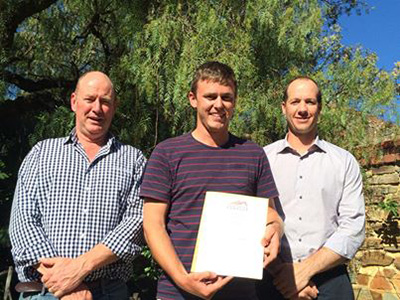 Steve Clarkson (Thomas Scholarship, Industry Advisory Group), James Fox (2014 Thomas Scholar) and Karl Martin (Foundation Barossa Director – Thomas Scholarship)