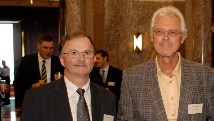 Dr Michael Looker and David at the launch of the David Thomas Challenge